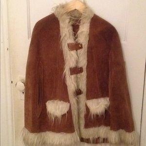 Jackets & Blazers - Suede leather poncho faux fur trim short 12